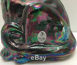 Fenton Amethyst Carnival Hand Painted Tuxedo Alley Cat Iridescent Signed Rare