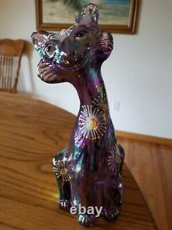 Fenton Amethyst Carnival Iridescent Glass Hand Painted Alley Cat Fig. 11