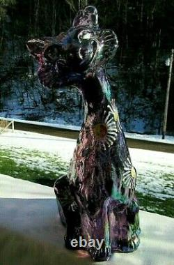 Fenton Amethyst Carnival Iridescent Glass Hand Painted Alley Cat Figurine11H