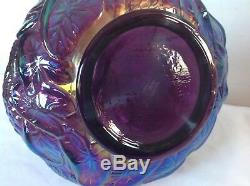 Fenton Amethyst Purple Carnival Glass Crimped Top Swan Lily Pond Vase WithSticker