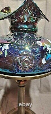 Fenton Art Glass 22 Student Desk Lamp Amethyst Carnival with Roses & H. P