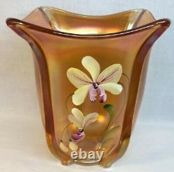 Fenton Art Glass Hand Painted Golden Orchids On Marigold Carnival Square Vase