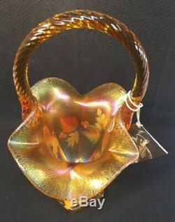 Fenton Art Glass Hand Painted Leaves On Autumn Gold Carnival 10 Basket