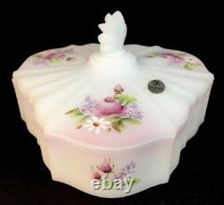 Fenton Art Glass Hand Painted Lilacs And Roses On Milk Satin Candy Dish