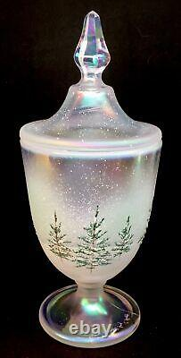 Fenton Art Glass Hand Painted Woodland Frost Crystal Carnival Candy Dish