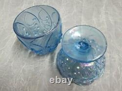 Fenton Art Glass LIGHT BLUE CARNIVAL Lily of the Valley Fairy Tea Candle Lamp