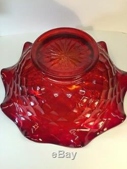Fenton Art Glass Large Ruby Red Carnival Butterfly Bowl