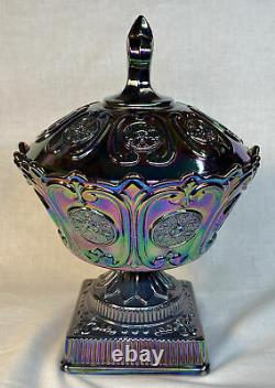 Fenton Art Glass Plum Carnival Candy Dish With Cover 1998