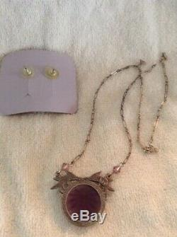 Fenton Art Glass Plum Carnival Trinket Jewelry Box with Earring and Necklace Set