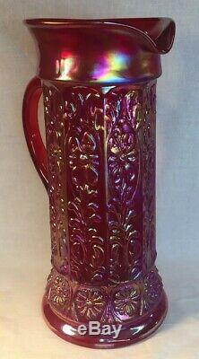 Fenton Art Glass Red Carnival Milady Pitcher LIMITED to 300