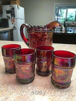 Fenton Art Glass Red Carnival Pitcher & tumblers 2005 Stork & Rushes Water Set