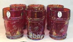 Fenton Art Glass Red Carnival Seven Piece Stork And Rushes Water Set