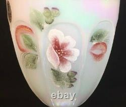 Fenton Art Hand Painted Magnolia Blush On French Opalescent Carnival Candy Box