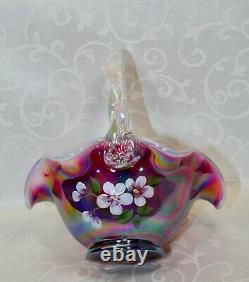 Fenton, Basket, Plum Carnival Opalescent Glass, Hand Decorated