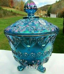 Fenton Blue Carnival Glass Baroque Footed Covered Candy Dish 7H x 5W