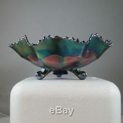 Fenton Blue Stag & Holly Carnival Glass Large Footed Bowl Bw0317