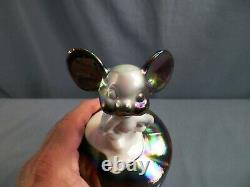 Fenton By Mosser Amethyst & White Carnival Slag Glass Mouse on the Font Figurine