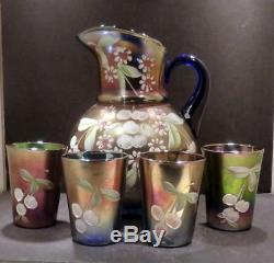 Fenton Carnival Enameled Cherries Blue Water Set with Pitcher and Four Tumblers