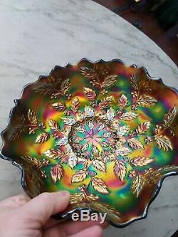 Fenton Carnival Glass Blue Holly Bowl Great Color