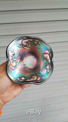 Fenton Carnival Glass Blue Kittens Childs Ruffled Bowl