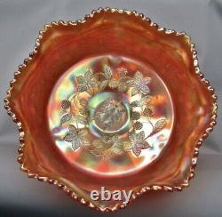 Fenton Carnival Glass Butterfly And Berry Fruit Bowl Set Note Only 4 Small Bowl