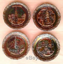 Fenton Carnival Glass Plate Set, Christmas In America #1 to #8, Storage Box Incl