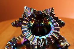 Fenton Diamond Lace Cobalt Marigold Carnival Glass Three Lily Epergne with Label