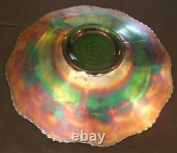 Fenton Fabulous Green Captive Rose 9 1/2 Carnival Glass Plate WOW