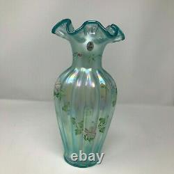 Fenton Frosted Carnival Blue 11 Ribbed Vase Hand Painted Artist Signed