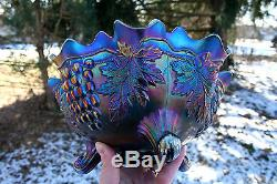 Fenton GRAPE & CABLE ANTIQUE CARNIVAL ART GLASS FTD FRUIT BOWLPM INTERIORBLUE