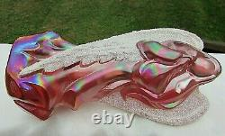 Fenton Glass 1980's Angel Figurine Pink Carnival with Coralene Beaded Wings 7H
