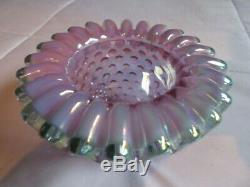 Fenton Glass 3 Piece Iridescent Carnival Hobnail Violet Green Fairy Lamp Signed