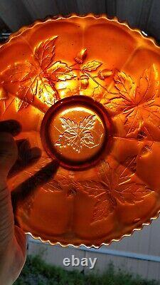Fenton Glass Extremely Rare Autumn Acorn Carnival Glass Bowl In Red, 1910