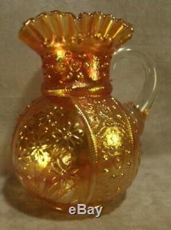 Fenton Glass Marigold Carnival Bouquet Water Pitcher