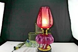 Fenton Glass Mellon Opalescent Fuchsia Pulled Feathers Table Lamp Rare Color