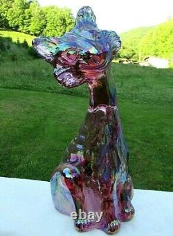 Fenton Glass Pink Carnival Iridescent Glass Alley Cat Figurine11H