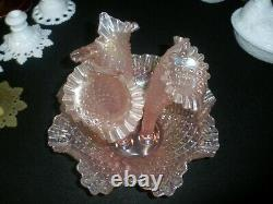 Fenton Glass Quilted Diamond carnival Epergne 3 horn mint
