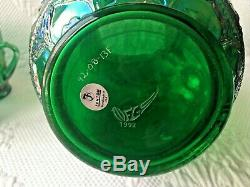 Fenton Green Apple Tree Water Set Handled Tumblers Unique Pitcher NFGS 1992