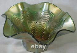 Fenton Green Peacock Feather Bowl General Furniture Co 1910