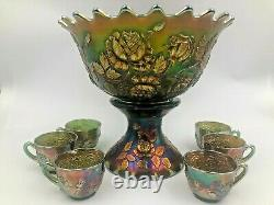 Fenton Green Wreath Rose Punch Set Persian Medallion Interior with 6 cups