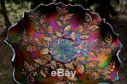 Fenton HOLLY ANTIQUE CARNIVAL ART GLASS RUFFLED BOWLBLUEULTRA RICH & COLORFUL