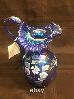 Fenton Hand Painted Cobalt Carnival Glass Ruffled Pitcher Museum Collection