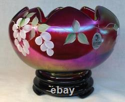 Fenton Hand Painted Trailing Wisteria Ruby Amberina Stretch Carnival Rose Bowl