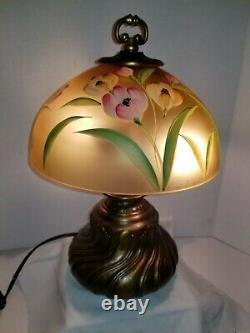 Fenton Hand Painted Tulips On Autumn Iridescent Gold Table Light Lamp by A Deem