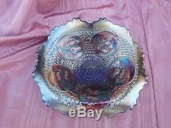 Fenton Horse Medallion Blue Carnival Glass Jack in the Pulpit Bowl