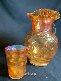 Fenton Inverted Coin Dot Marigold Carnival Glass Pitcher And Tumbler