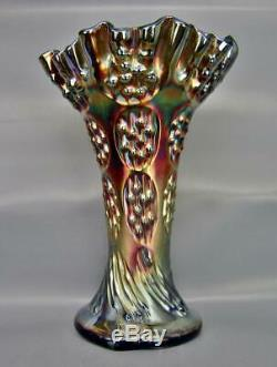 Fenton KNOTTED BEADS Cobalt Blue Carnival Glass Crimped Crown Squatty Vase 6869