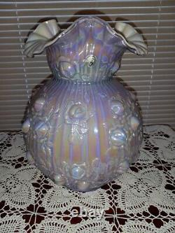 Fenton LILAC LAVENDER IRIDIZED CARNIVAL OVERLAY CABBAGE ROSE Lamp Shade Only