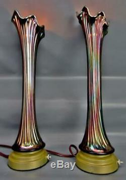 Fenton MID-SIZE THIN RIB Blue Carnival Glass 16 Vase-Lamp Conversion PAIR 6682