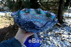 Fenton MIKADO ANTIQUE CARNIVAL ART GLASS GIANT COMPOTESCARCE BLUEBEAUTIFUL